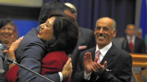 Newly Sworn-In Hilda Solis and Mayor Eric Garcetti Rick Loomis / Los Angeles Times